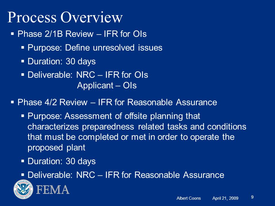 Albert Coons April 21, 2009 9 Process Overview  Phase 2/1B Review – IFR for OIs  Purpose: Define unresolved issues  Duration: 30 days  Deliverable