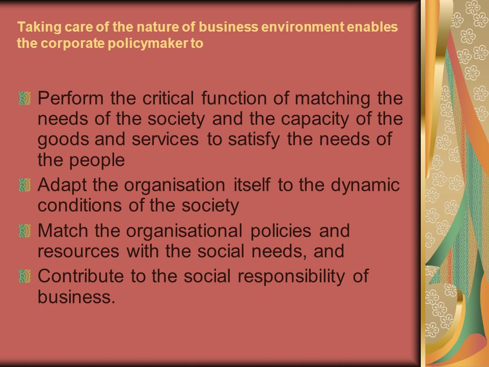 Types of Environment 1.Internal Environment- A.Value system B.