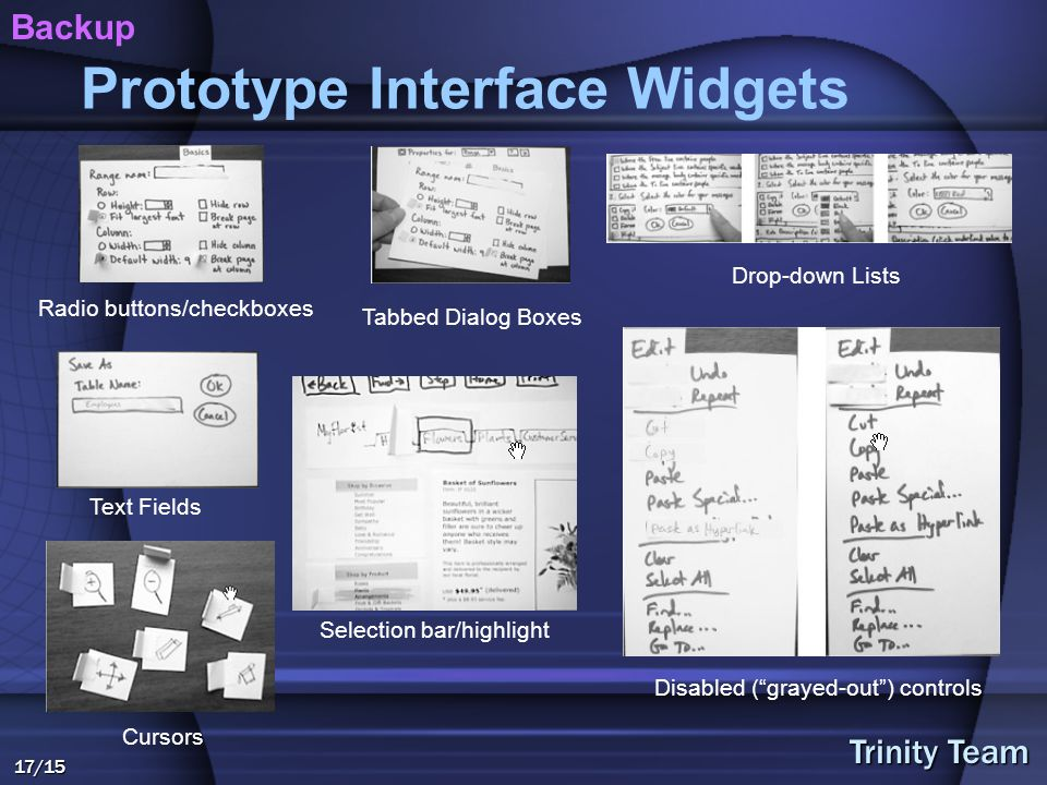 Trinity Team 17/15 Prototype Interface Widgets Tabbed Dialog Boxes Selection bar/highlight Radio buttons/checkboxes Text Fields Drop-down Lists Disabled ( grayed-out ) controls Cursors Backup