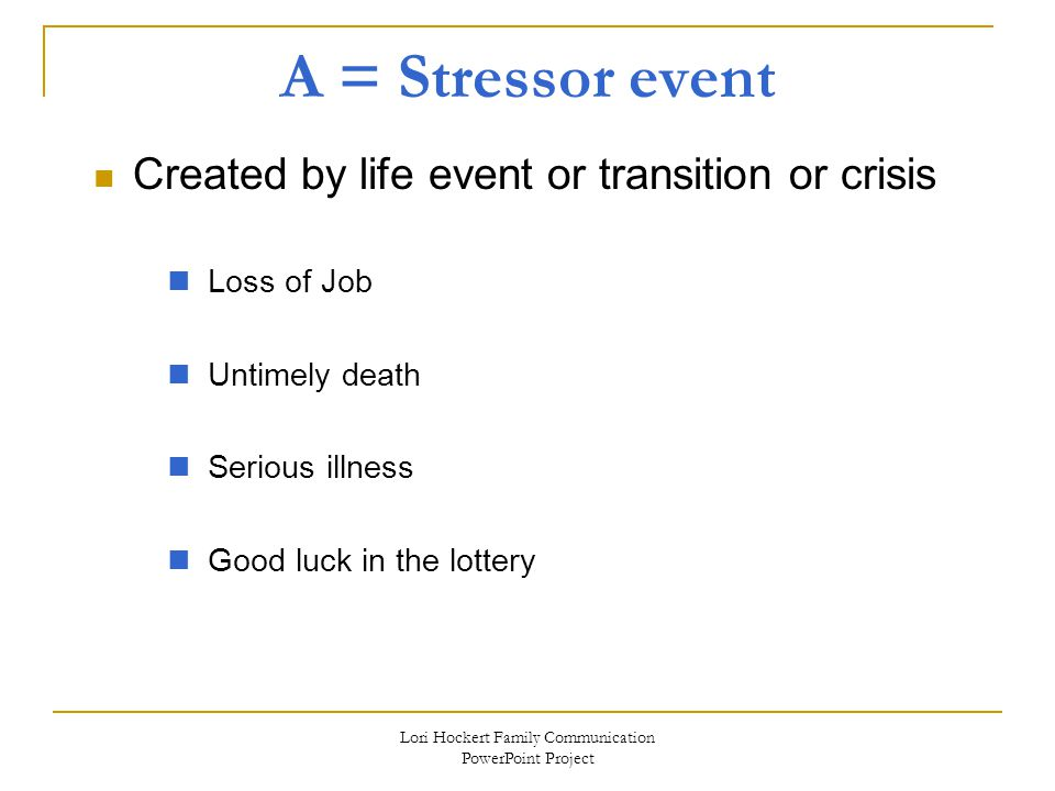 Lori Hockert Family Communication PowerPoint Project A = Stressor event Created by life event or transition or crisis Loss of Job Untimely death Serious illness Good luck in the lottery