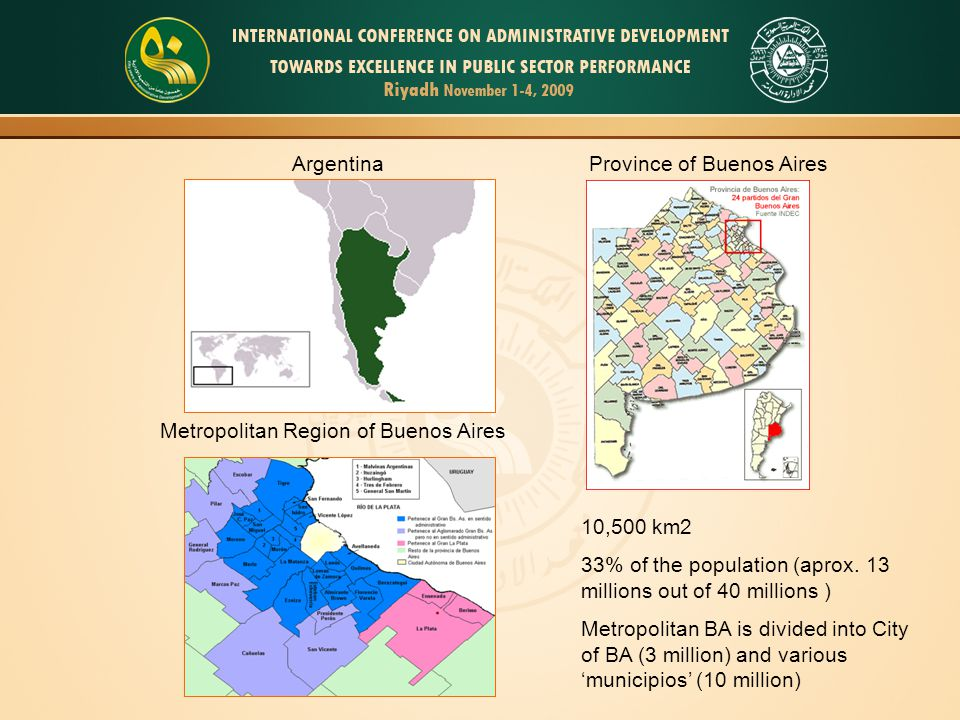 Argentina Metropolitan Region of Buenos Aires Province of Buenos Aires 10,500 km2 33% of the population (aprox. 13 millions out of 40 millions ) Metro