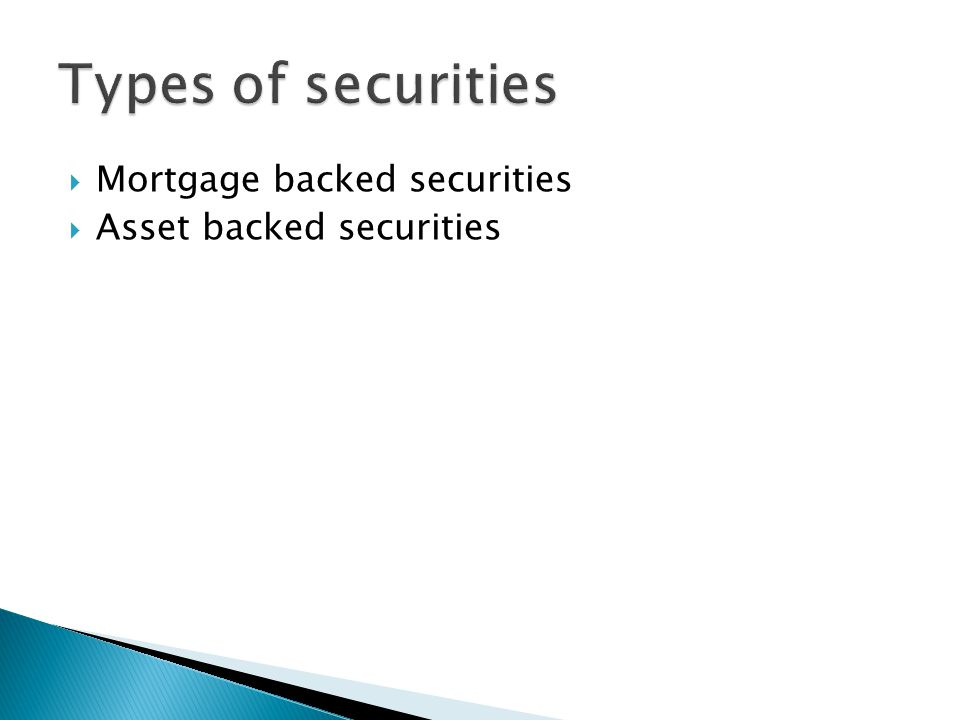  Mortgage backed securities  Asset backed securities