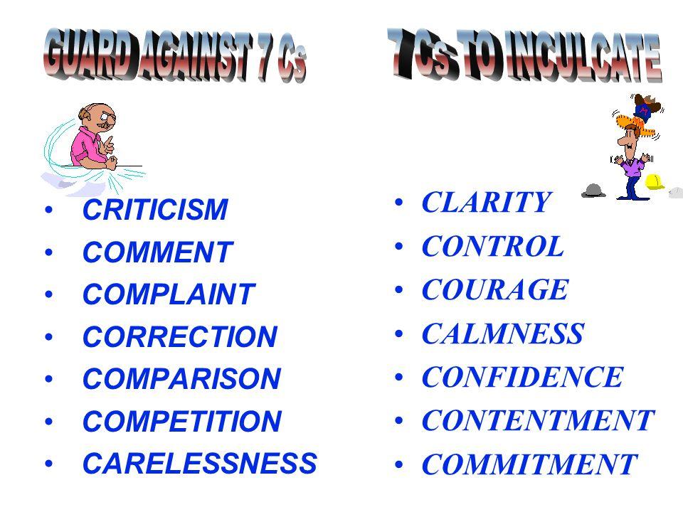 CRITICISM COMMENT COMPLAINT CORRECTION COMPARISON COMPETITION CARELESSNESS CLARITY CONTROL COURAGE CALMNESS CONFIDENCE CONTENTMENT COMMITMENT