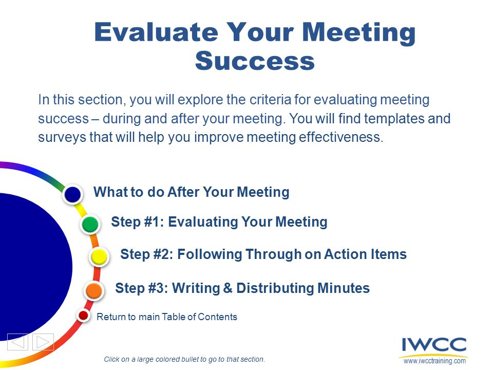 Evaluate Your Meeting Success In this section, you will explore the criteria for evaluating meeting success – during and after your meeting. You will