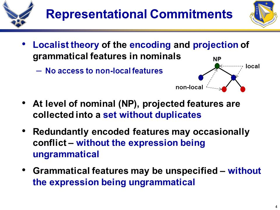 4 Representational Commitments Localist theory of the encoding and projection of grammatical features in nominals – No access to non-local features At level of nominal (NP), projected features are collected into a set without duplicates Redundantly encoded features may occasionally conflict – without the expression being ungrammatical Grammatical features may be unspecified – without the expression being ungrammatical non-local local NP
