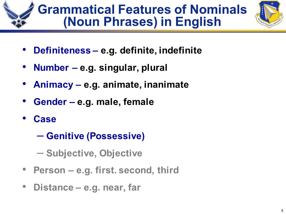 5 Grammatical Features of Nominals (Noun Phrases) in English Definiteness – e.g.