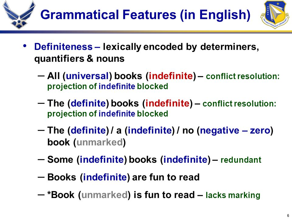 6 Grammatical Features (in English) Definiteness – lexically encoded by determiners, quantifiers & nouns – All (universal) books (indefinite) – conflict resolution: projection of indefinite blocked – The (definite) books (indefinite) – conflict resolution: projection of indefinite blocked – The (definite) / a (indefinite) / no (negative – zero) book (unmarked) – Some (indefinite) books (indefinite) – redundant – Books (indefinite) are fun to read – *Book (unmarked) is fun to read – lacks marking