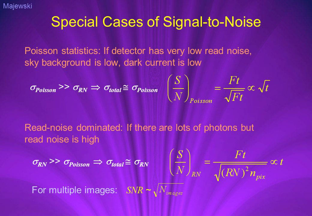 Special Cases of Signal-to-Noise Poisson statistics: If detector has very low read noise, sky background is low, dark current is low  RN >>  Poisson   total   RN  Poisson >>  RN   total   Poisson Read-noise dominated: If there are lots of photons but read noise is high For multiple images: SNR ~ Majewski