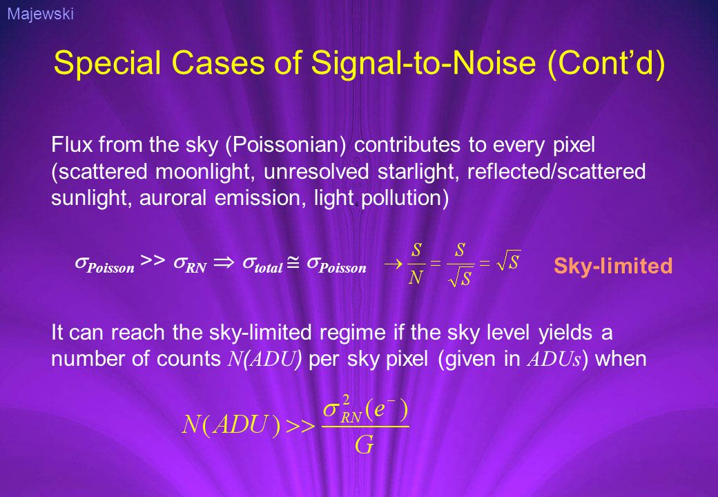 Special Cases of Signal-to-Noise (Cont'd) Flux from the sky (Poissonian) contributes to every pixel (scattered moonlight, unresolved starlight, reflected/scattered sunlight, auroral emission, light pollution) Sky-limited It can reach the sky-limited regime if the sky level yields a number of counts N ( ADU ) per sky pixel (given in ADUs ) when  Poisson >>  RN   total   Poisson Majewski