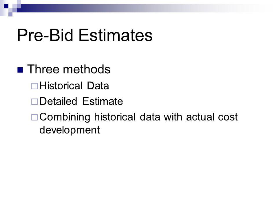 Pre-Bid Estimates Three methods  Historical Data  Detailed Estimate  Combining historical data with actual cost development