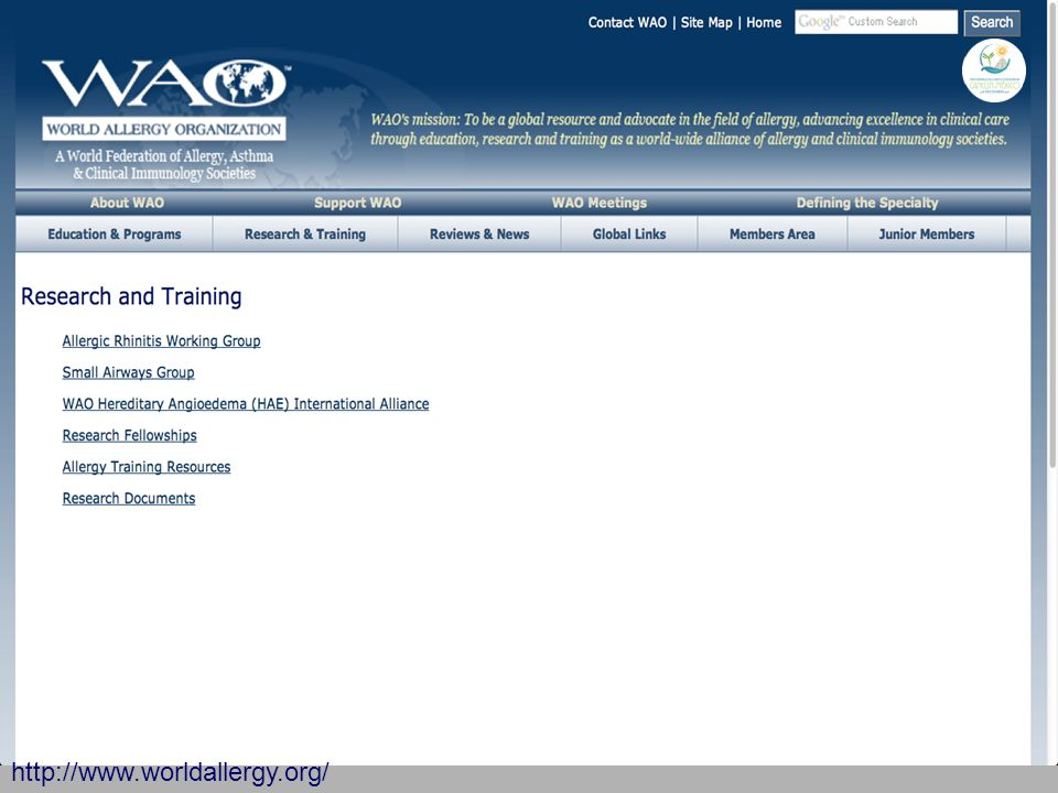 WAO website - Sections http://www.worldallergy.org/