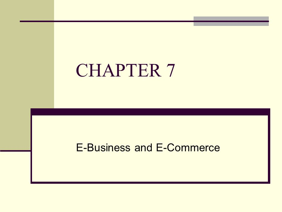 CHAPTER 7 E-Business and E-Commerce