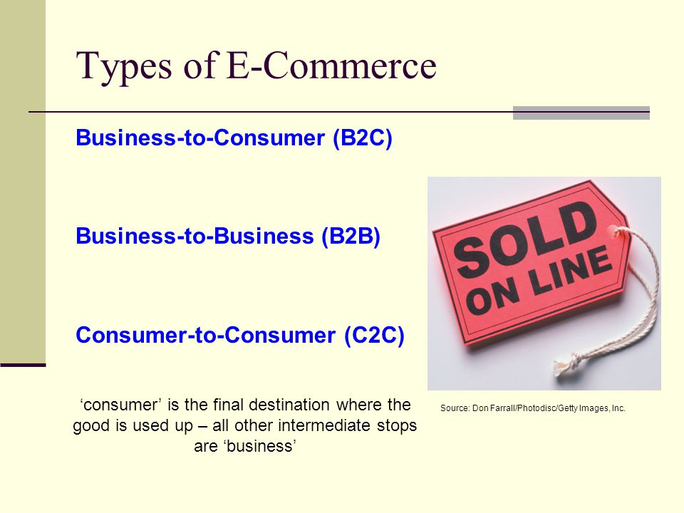 Types of E-Commerce Business-to-Consumer (B2C) Business-to-Business (B2B) Consumer-to-Consumer (C2C) Source: Don Farrall/Photodisc/Getty Images, Inc.