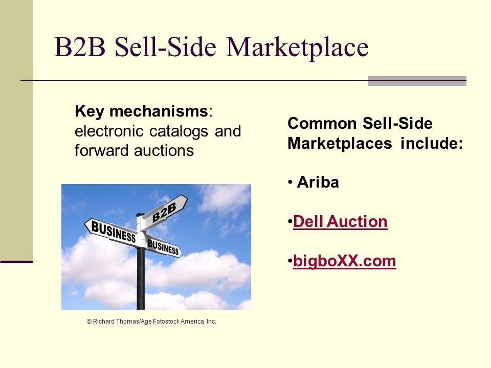 B2B Sell-Side Marketplace Key mechanisms: electronic catalogs and forward auctions Common Sell-Side Marketplaces include: Ariba Dell Auction bigboXX.com © Richard Thomas/Age Fotostock America, Inc.