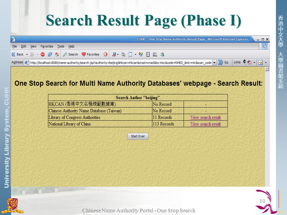 University Library System, CUHK Chinese Name Authority Portal - One Stop Search 10 Search Result Page (Phase I)