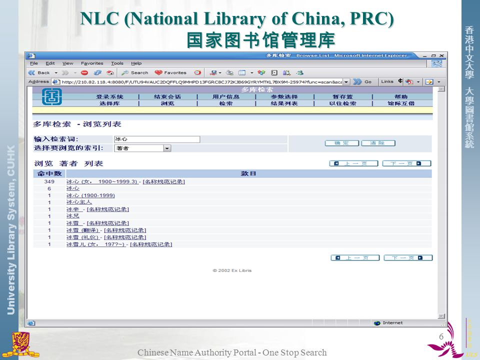 University Library System, CUHK Chinese Name Authority Portal - One Stop Search 6 NLC (National Library of China, PRC) 国家图书馆管理库