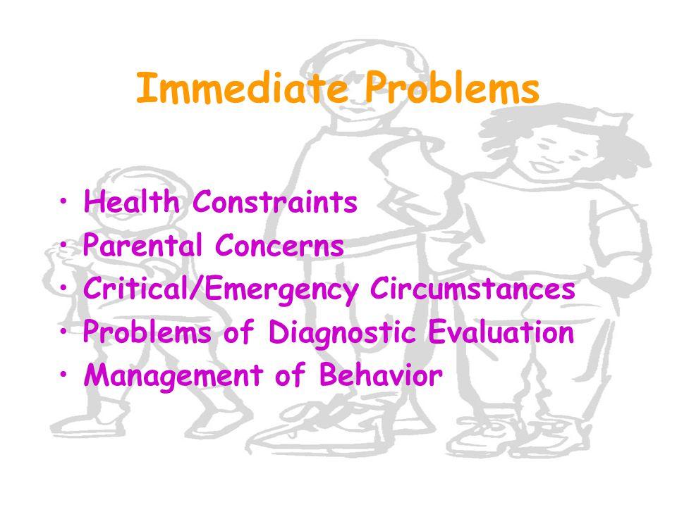 Immediate Problems Health Constraints Parental Concerns Critical/Emergency Circumstances Problems of Diagnostic Evaluation Management of Behavior