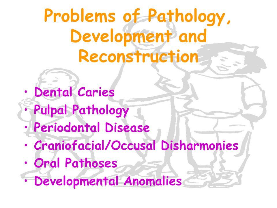 Problems of Pathology, Development and Reconstruction Dental Caries Pulpal Pathology Periodontal Disease Craniofacial/Occusal Disharmonies Oral Pathos