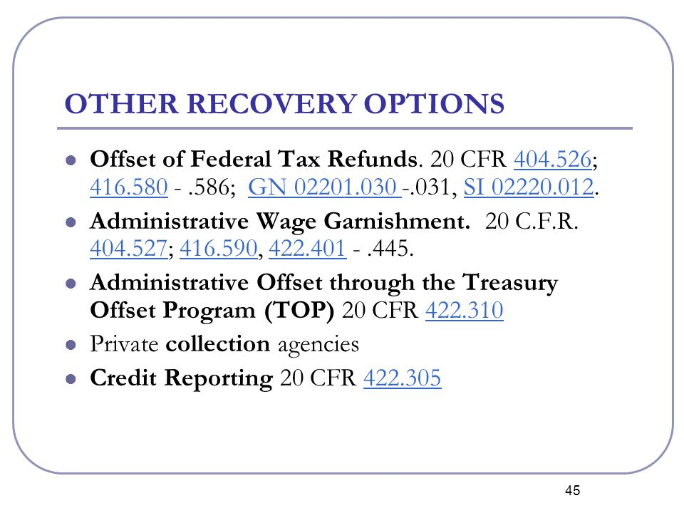 45 OTHER RECOVERY OPTIONS Offset of Federal Tax Refunds.