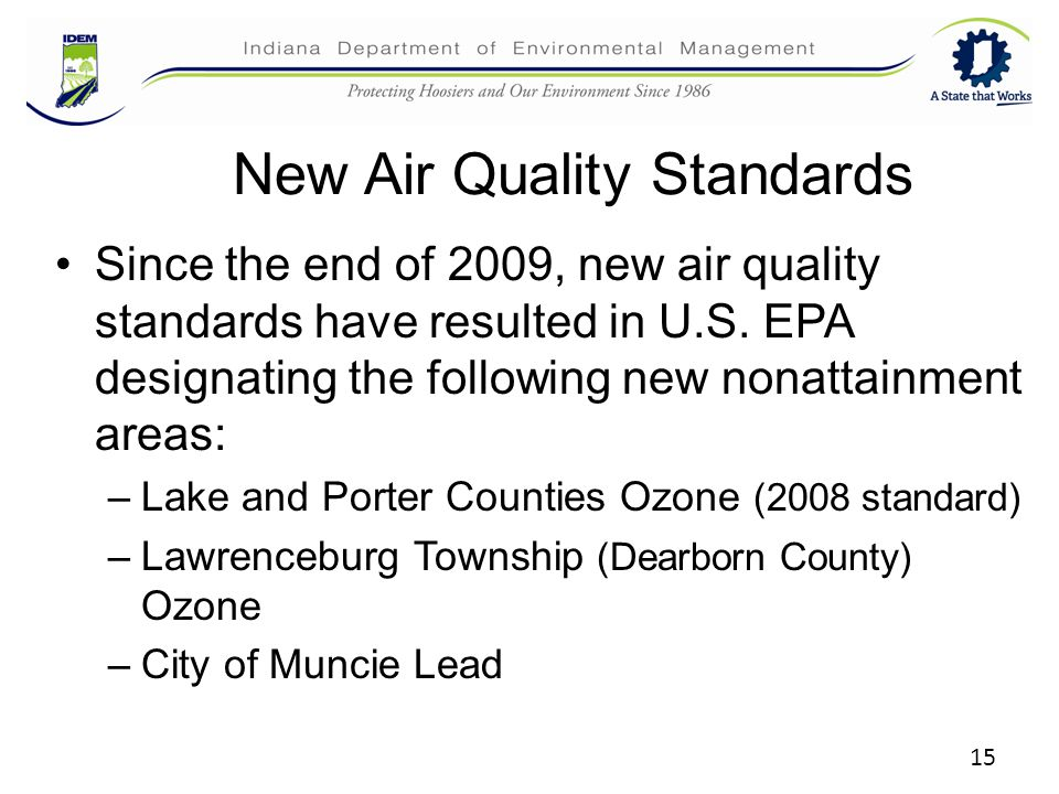 New Air Quality Standards Since the end of 2009, new air quality standards have resulted in U.S. EPA designating the following new nonattainment areas