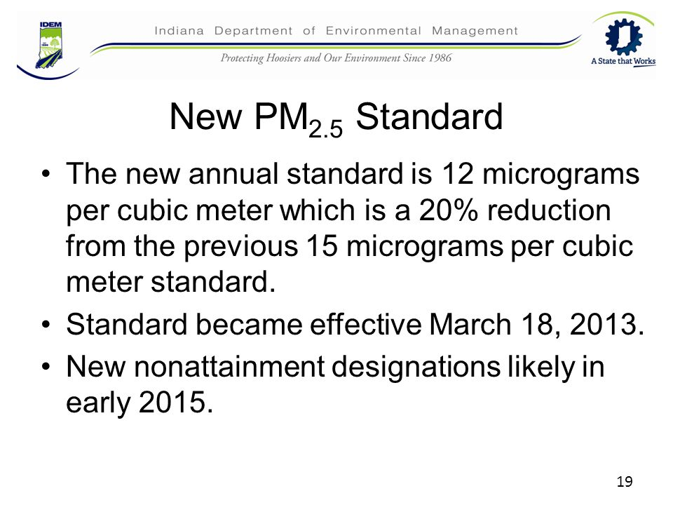 New PM 2.5 Standard The new annual standard is 12 micrograms per cubic meter which is a 20% reduction from the previous 15 micrograms per cubic meter standard.