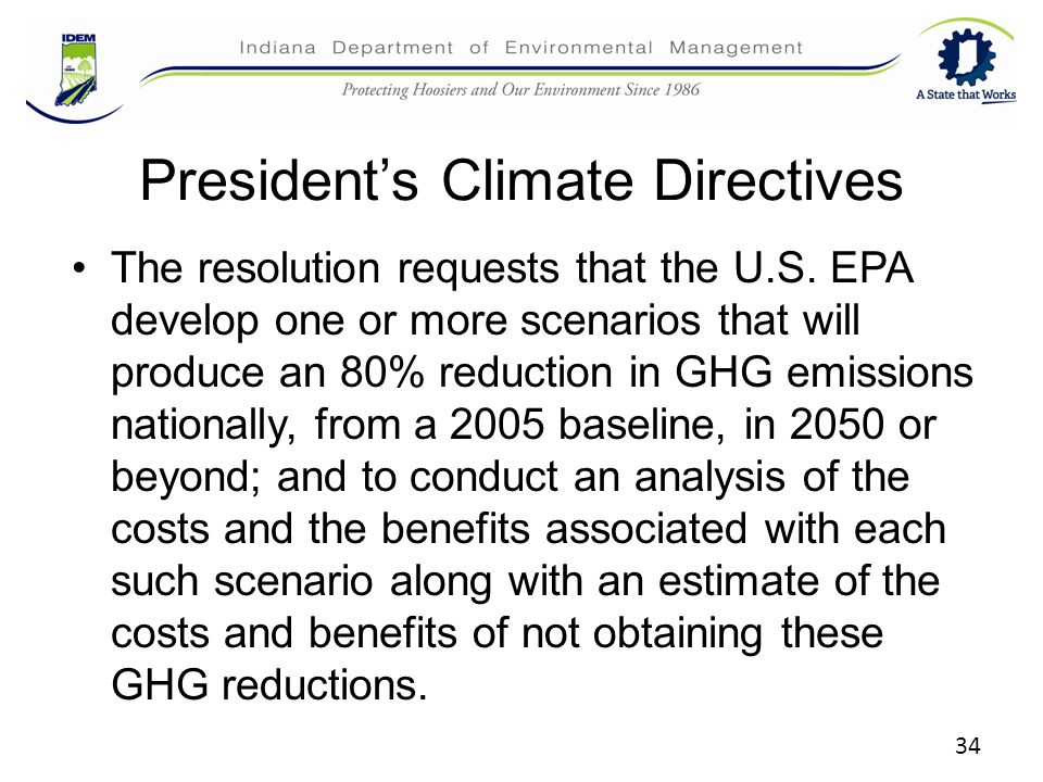 34 President's Climate Directives The resolution requests that the U.S.