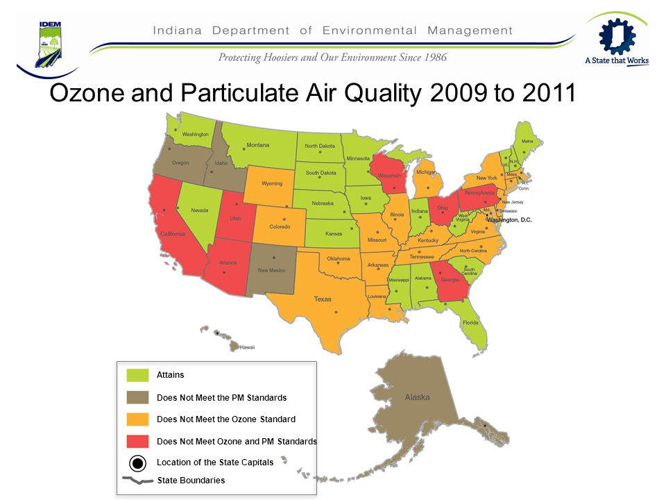 42 Attains Does Not Meet the PM Standards Does Not Meet the Ozone Standard Does Not Meet Ozone and PM Standards Location of the State Capitals State Boundaries Ozone and Particulate Air Quality 2009 to 2011