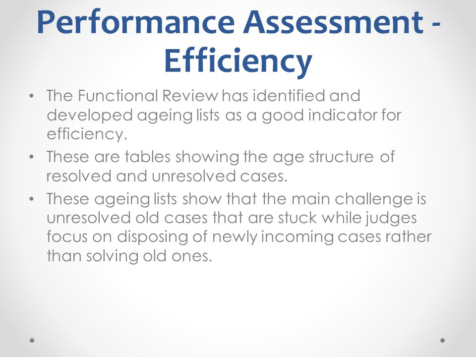 Performance Assessment - Efficiency The Functional Review has identified and developed ageing lists as a good indicator for efficiency.