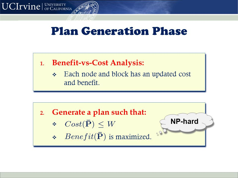 2. Generate a plan such that:  h  is maximized. 2. Generate a plan such that:  h  is maximized. 1. Benefit-vs-Cost Analysis:  Each node and block