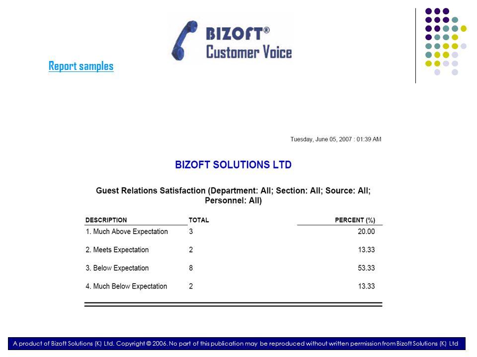 Report samples A product of Bizoft Solutions (K) Ltd.