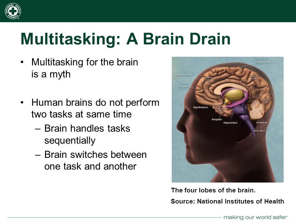 nsc.org Multitasking: A Brain Drain Multitasking for the brain is a myth Human brains do not perform two tasks at same time –Brain handles tasks sequentially –Brain switches between one task and another The four lobes of the brain.