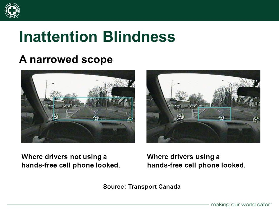 nsc.org Inattention Blindness Where drivers not using a hands-free cell phone looked.