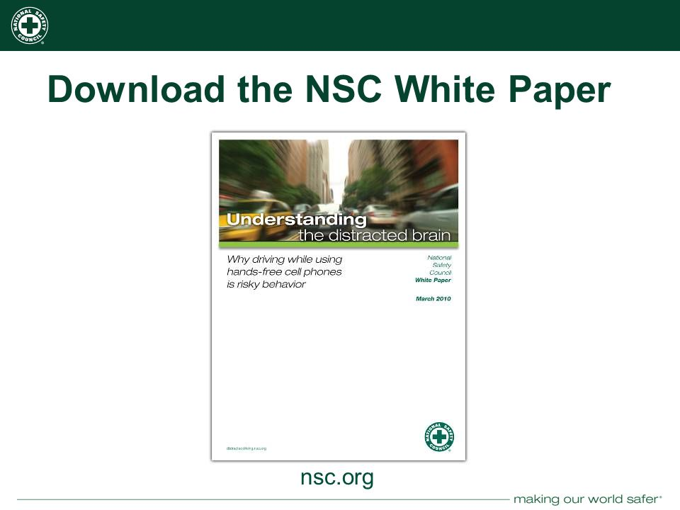 nsc.org Download the NSC White Paper nsc.org