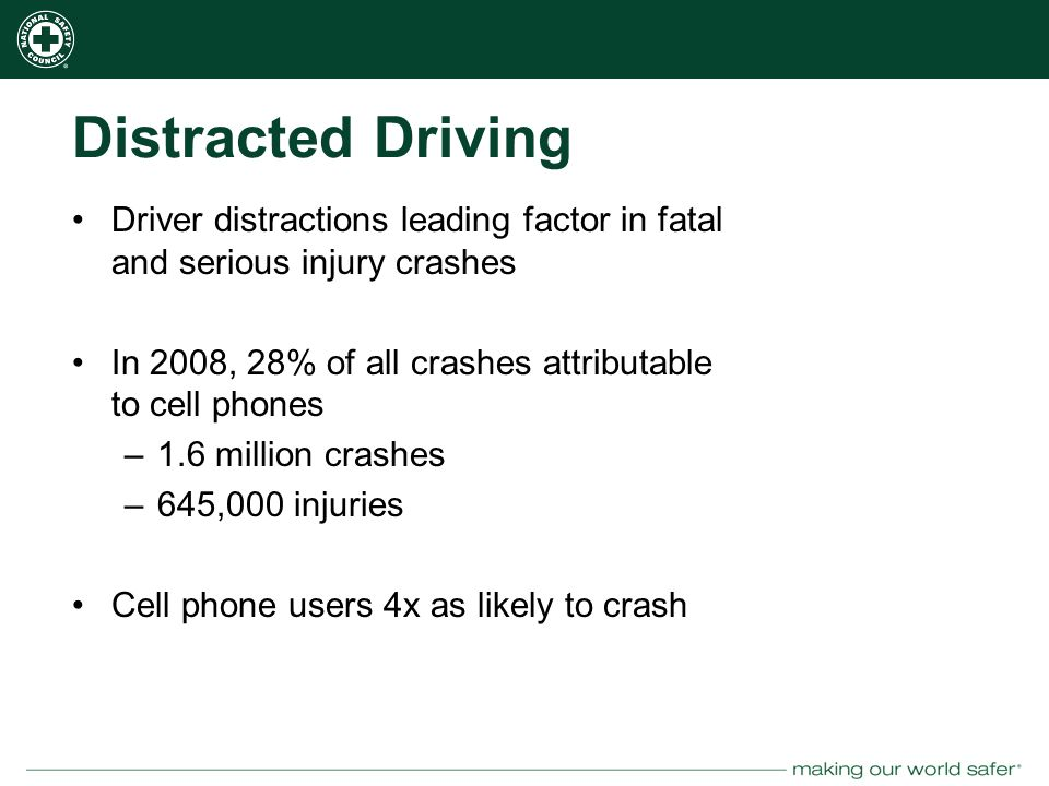 nsc.org Distracted Driving Driver distractions leading factor in fatal and serious injury crashes In 2008, 28% of all crashes attributable to cell phones –1.6 million crashes –645,000 injuries Cell phone users 4x as likely to crash