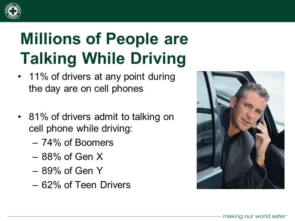 nsc.org Millions of People are Talking While Driving 11% of drivers at any point during the day are on cell phones 81% of drivers admit to talking on cell phone while driving: –74% of Boomers –88% of Gen X –89% of Gen Y –62% of Teen Drivers