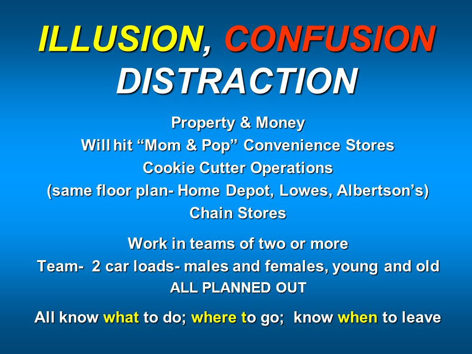 ILLUSION, CONFUSION DISTRACTION Property & Money Will hit Mom & Pop Convenience Stores Cookie Cutter Operations (same floor plan- Home Depot, Lowes, Albertson's) Chain Stores Work in teams of two or more Team- 2 car loads- males and females, young and old ALL PLANNED OUT All know what to do; where to go; know when to leave