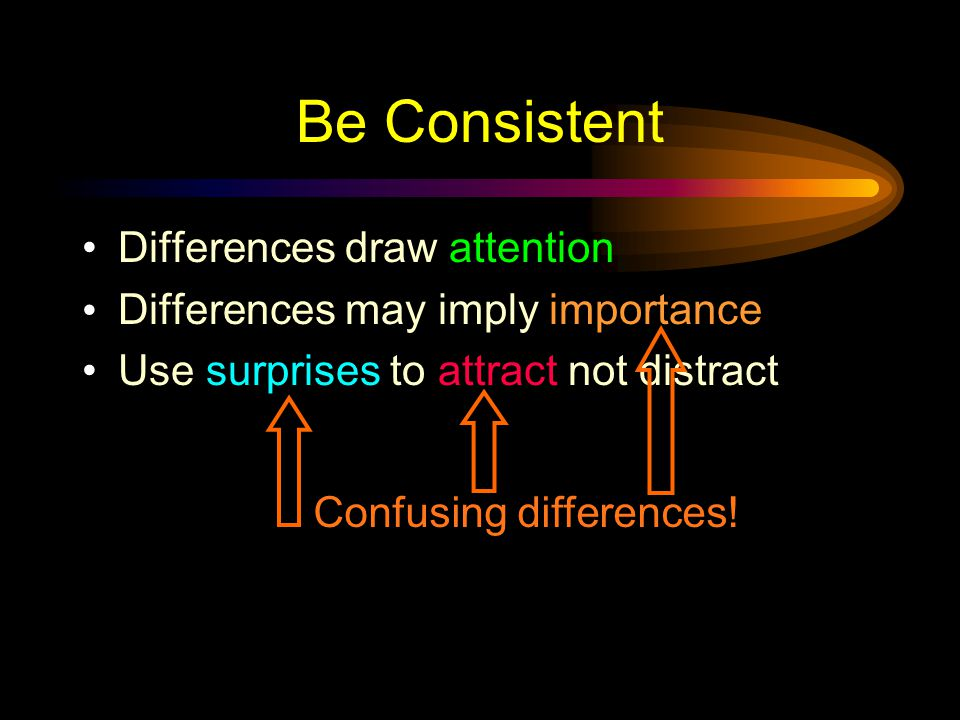 Be Consistent Differences draw attention Differences may imply importance Use surprises to attract not distract This implies importance