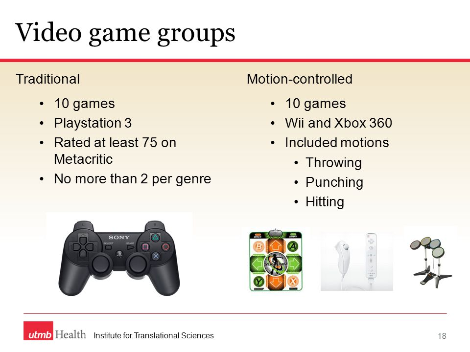 Video game groups Traditional 10 games Playstation 3 Rated at least 75 on Metacritic No more than 2 per genre Motion-controlled 10 games Wii and Xbox 360 Included motions Throwing Punching Hitting Institute for Translational Sciences 18