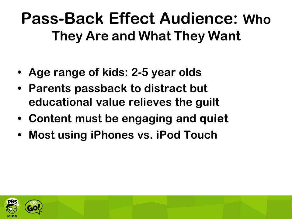 Pass-Back Effect Audience: Who They Are and What They Want Age range of kids: 2-5 year olds Parents passback to distract but educational value relieves the guilt Content must be engaging and quiet Most using iPhones vs.