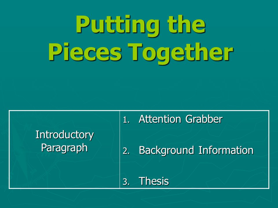 Putting the Pieces Together Introductory Paragraph 1. Attention Grabber 2. Background Information 3. Thesis