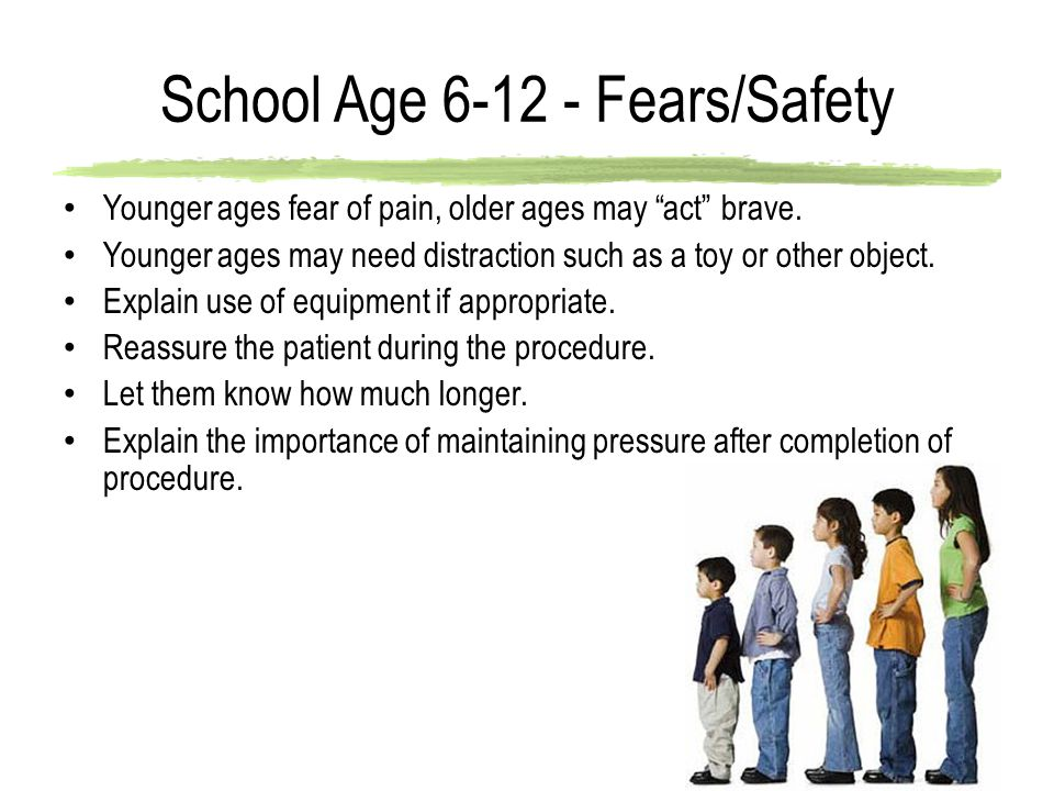 School Age 6-12 - Fears/Safety Younger ages fear of pain, older ages may act brave.