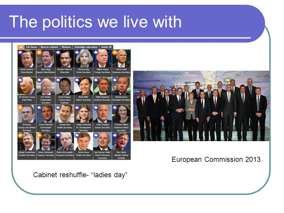The politics we live with European Commission 2013 Cabinet reshuffle- ladies day