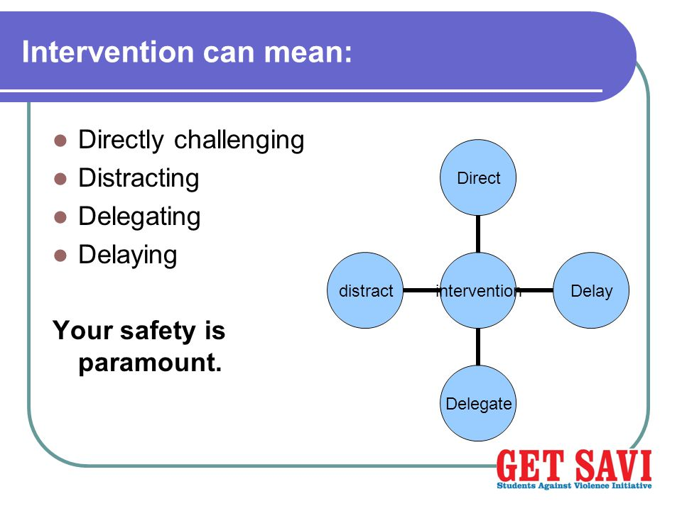 Intervention can mean: Directly challenging Distracting Delegating Delaying Your safety is paramount.
