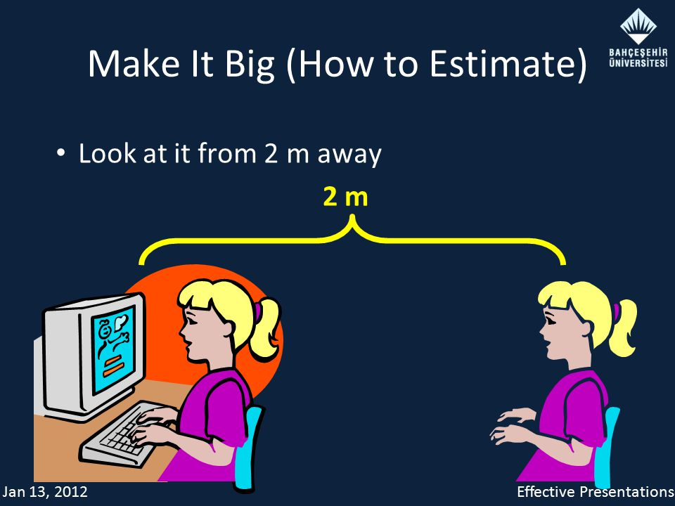 Jan 13, 2012Effective Presentations Make It Big (How to Estimate) Look at it from 2 m away 2 m