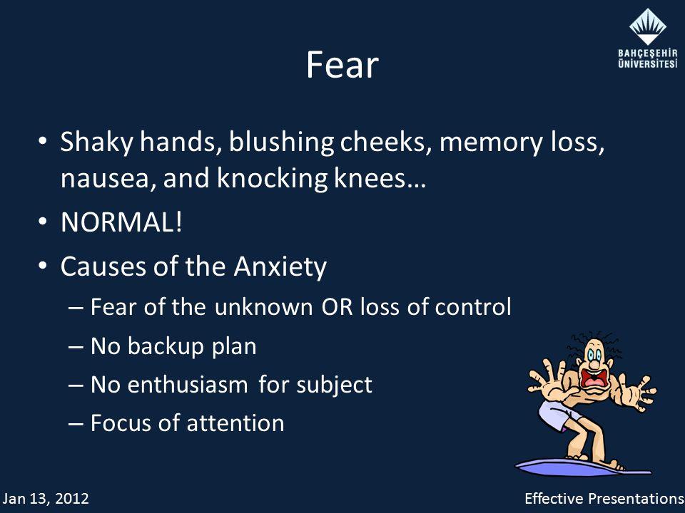Jan 13, 2012Effective Presentations Fear Shaky hands, blushing cheeks, memory loss, nausea, and knocking knees… NORMAL.
