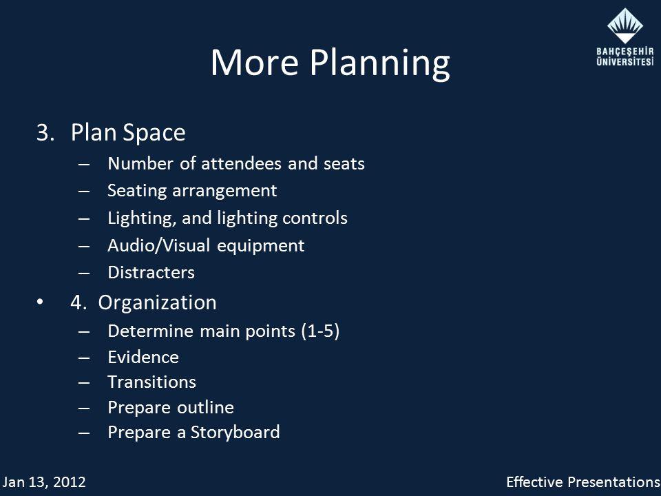 Jan 13, 2012Effective Presentations More Planning 3.