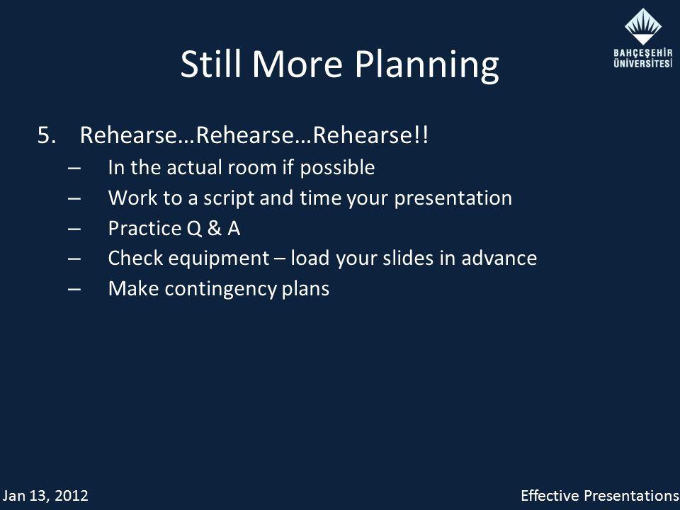 Jan 13, 2012Effective Presentations Still More Planning 5.