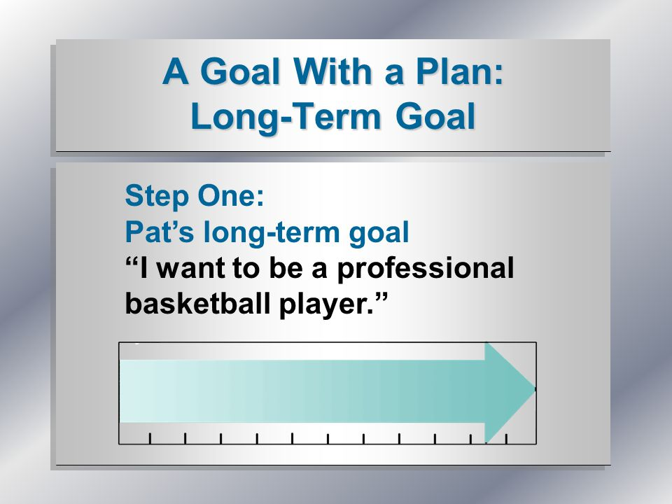A Goal With a Plan: Long-Term Goal Step One: Pat's long-term goal I want to be a professional basketball player.