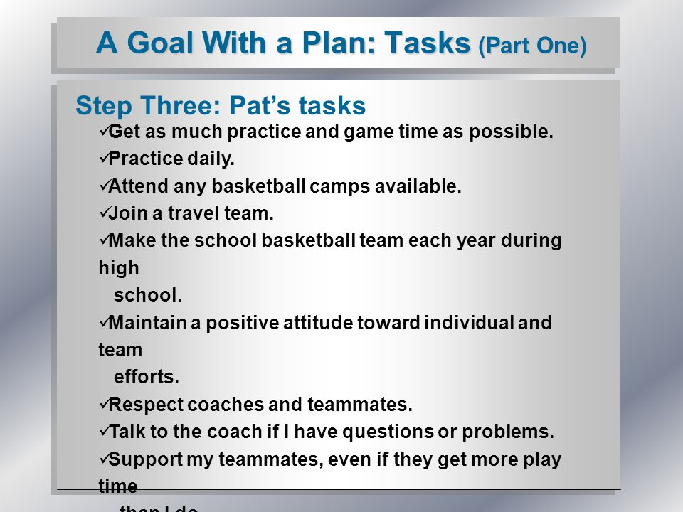 A Goal With a Plan: Tasks (Part One) Step Three: Pat's tasks Get as much practice and game time as possible.