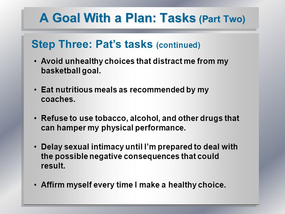 A Goal With a Plan: Tasks (Part Two) Step Three: Pat's tasks (continued) Avoid unhealthy choices that distract me from my basketball goal.